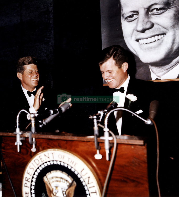 Oct. 19, 1963 - Boston, Massachusetts, U.S. - Senator TED KENNEDY gives a speech at the Democratic Fund Raising Dinner with JOHN F. KENNEDY looking on at the Commonwealth Armory..(Credit Image: © John F. Kennedy Library/ZUMAPRESS.com)