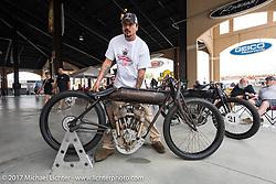 Warren Lane's Sons of Speed 1917 Indian Power Plus twin cylinder racer at his True Grit bike show at Destination Daytona during Daytona Beach Bike Week. FL. USA. Sunday March 12, 2017. Photography ©2017 Michael Lichter.
