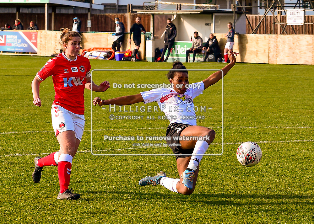 Crayford   England    07 March 2021   The Oakwood<br /> <br /> Lewes's Ini Umotong scores her sides first goal of the match to equalise<br /> <br /> Charlton v Lewes<br /> <br /> The FA Women's Championship<br /> <br /> (Photo: © Jon Hilliger / HilligerPix)