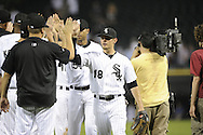 CHICAGO - JUNE 07:  Brent Lillibridge #18 of the Chicago White Sox celebrates with teammates after the game against the Seattle Mariners on June 7, 2011 at U.S. Cellular Field in Chicago, Illinois.  The White Sox defeated the Mariners 5-1.  (Photo by Ron Vesely)  Subject:  Brent Lillibridge