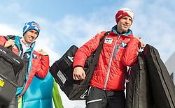 03.01.2016, Bergisel Schanze, Innsbruck, AUT, FIS Weltcup Ski Sprung, Vierschanzentournee, Probedurchgang, im Bild v.l.: Stefan Kraft (AUT), Michael Hayboeck (AUT) // f.l.: Stefan Kraft of Austria, Michael Hayboeck of Austria before threir Trial Jump for the Four Hills Tournament of FIS Ski Jumping World Cup at the Bergisel Schanze, Innsbruck, Austria on 2016/01/03. EXPA Pictures © 2016, PhotoCredit: EXPA/ JFK