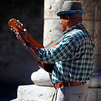 Central America, Cuba, Havana. Guitartist of Old Havana.