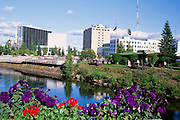 Alaska. Fairbanks. The Chena River runs past Golden Heart Park and the Rabinovitch courthouse building.