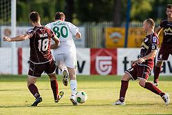 Dajic Milan & Pokorn Jalen of NK Triglav and  Benko Joze of Zavrc during football match between NK Triglav Kranj and Zavrc, 3nd Round of Prva Liga, on 28 July, 2013, in Sportni center, Kranj, Slovenia. (Photo by Grega Valancic / Sportida)