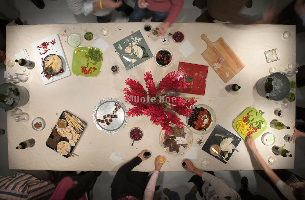birds eye view of a table at a after office hours party