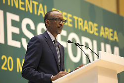 KIGALI, March 20, 2018  The chairperson of the African Union (AU) and President of Rwanda Paul Kagame delivers remarks at the African Continental Free Trade Area (AfCFTA) Business Forum in Kigali, capital of Rwanda, on March 20, 2018. The African Continental Free Trade Area (AfCFTA) Business Forum, a side event of the African Union (AU) extraordinary summit on the AfCFTA, took place on Tuesday. (Credit Image: © Gabriel Dusabe/Xinhua via ZUMA Wire)