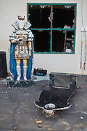 Faceless sculptures in abandoned building at Six Flags in New Orleans. <br /> Six Flags New Orleans amusement park in Eastern New Orleans, Louisiana, closed since Hurricane Katrina  in 2005 remains in a sate of ruin. The remains of Six Flags amusement park are on low lying land owned by the city of New Orleans and have not be redeveloped since Katrina.