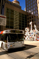 Metro bus at a stop in downtown Houston