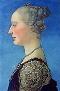 Portrait of a Young Woman', c1475. Oil on panel. Antonioi Pollaiuolo (Pollaiolo 1429/1433-1498) Italian painter, sculptor, engraver and painter. Head-and-shoulders Profile Fashion Fabric Brocade Hairstyle Jewelry Pearl