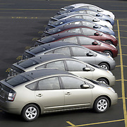 The 2004 Toyota Prius, a hybrid car. Photographed in October, 2004 at Port of Long Beach as the cars were being readied for shipment to local dealers.