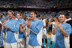 CHAPEL HILL, NC - MARCH 05: Stewart Cooper #15, David Dupont #22, Daniel Bolick #3, D.J. Johnston #32 and Patrick Crouch #30 of the North Carolina Tar Heels on March 05, 2011 at the Dean E. Smith Center in Chapel Hill, North Carolina. North Carolina won 67-81. (Photo by Peyton Williams/UNC/Getty Images)