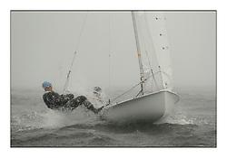 470 Class European Championships Largs - Day 2.Wet and Windy Racing in grey conditions on the Clyde...ITA52, Francesca KOMATAR, Sveva CARRARO, Centro Sportivo Aeronautica Militare ..