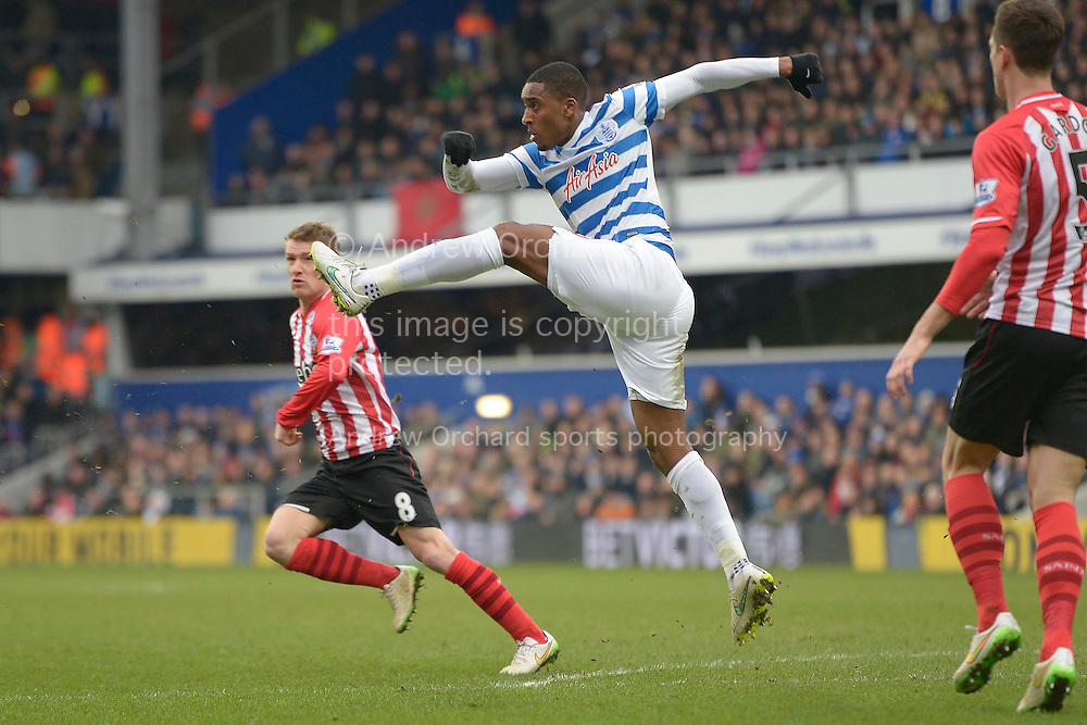 Leroy Fer of QPR boots the ball out of the QPR defence. Barclays Premier league match, Queens Park Rangers v Southampton at Loftus Road in London on Saturday 7th Feb 2015. pic by John Patrick Fletcher, Andrew Orchard sports photography.