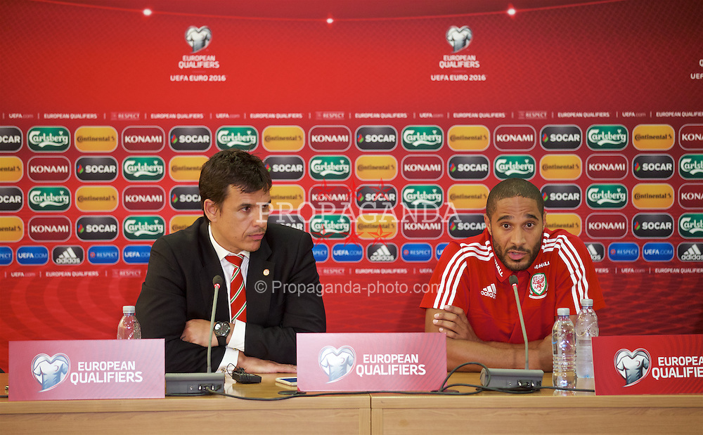 NICOSIA, CYPRUS - Wednesday, September 2, 2015: Wales' manager Chris Coleman and captain Ashley Williams during a press conference at the GPS Stadium ahead of the UEFA Euro 2016 qualifying match against Cyprus. (Pic by David Rawcliffe/Propaganda)