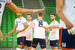 30-12-2019 SLO: Slovenia - Netherlands, Ljubljana<br /> Jelte Maan, Robbert Andringa #18, Gijs van Solkema, Fabian Plak of the Netherlands during friendly volleyball match between National Men teams of Slovenia and Netherlands