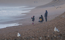 © Licensed to London News Pictures. 20/11/2016. Newhaven, UK. People on the beach at Seaford watch as storm Angus whips up the sea. The south east has experienced winds of up to 80 miles per hour as the first named storm of the season hits. Photo credit: Peter Macdiarmid/LNP