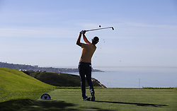January 27, 2019 - San Diego, CA, USA - Justin Rose tees off on the 3rd hole during the fourth round of the Farmers Insurance Open at the Torrey Pines Golf Course in San Diego on Sunday, Jan. 27, 2019. (Credit Image: © K.C. Alfred/San Diego Union-Tribune/TNS via ZUMA Wire)