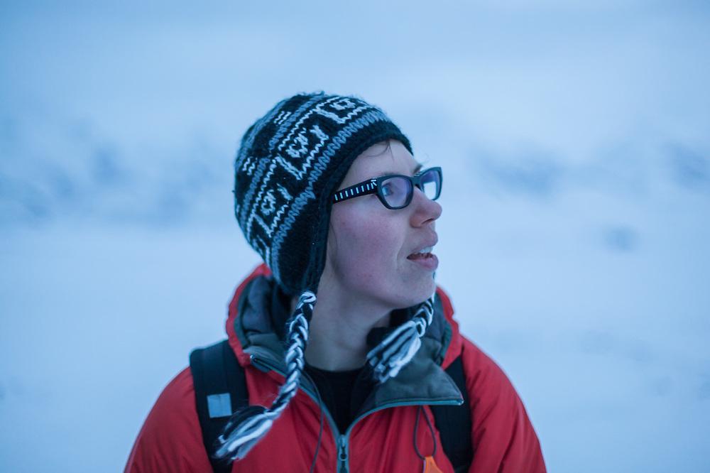 Michelle Blade on a hike across Sverdruphamaren, Svalbard.