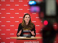 DEU, Deutschland, Germany, Berlin, 04.03.2021: Janine Wissler, Parteivorsitzende von DIE LINKE, bei einer Pressekonferenz im Karl-Liebknecht-Haus.