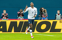 SAINT PETERSBURG, RUSSIA - MARCH 27: RUSSIA-FRANCE. International friendly football match at Saint Petersburg Stadium on March 27, 2018 in Saint-Petersburg, Russia. France's Paul Pogba celebrates his goal. (Photo by MB Media/Getty Images)