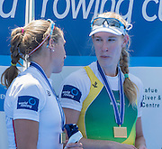 Varese. ITALY.  Women's single medals Left USA W1X Gevie STONE. right gold medalist, AUS W1X Kim CROW .  2015 FISA World Cup II Venue Lake Varese. Sunday  21/06/2015 [Mandatory Credit: Peter Spurrier/Intersport images] .   Empacher.