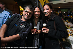 aul Gomez and friends at the Custom Chrome Europe evening party in the old town after a long day at the Intermot Motorcycle Trade Fair. Cologne, Germany. Friday October 7, 2016. Photography ©2016 Michael Lichter.
