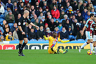 Christian Benteke of Crystal Palace sits on the ground and appeals for a free kick. Premier League match, Burnley v Crystal Palace at Turf Moor in Burnley , Lancs on Saturday 5th November 2016.<br /> pic by Chris Stading, Andrew Orchard sports photography.