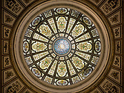 Pictured is the rotunda in the Grand Army of the Republic Hall located in the Chicago Cultural Center