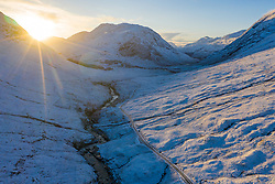 Aerial view of snow covered Glen Etive during winter, Highland, Scotland, UK