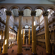 The magnificent Great Hall of the National Building Museum in Washington, DC, a museum that examines America's architecture, design, engineering, construction, and urban planning.