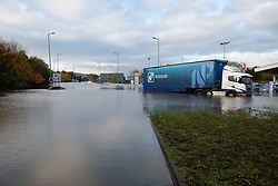 South Yorkshire flooding. Ickles Roundabout Rotherham. Specialist rescue teams from the West Midlands Fire service rescue people from vehicles and business premises along the A6178<br /> <br />  Copyright Paul David Drabble<br />  07 November 2019<br />  www.pauldaviddrabble.co.uk