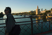 Torre del Oro and Guadalquivir river - SEVILLE - Seville province - Andalusia region - Spain. Route by train after the steps of Washington Irving, romantic American writer who travelled in 1829 from Seville to Granada, where he wrote 'Tales of the Alhambra'. Fascinated by the wealth and exoticism of the Spanish-Muslim civilization, Irving was responsible, along with the French writers of the 19th century, for the romantic image of Al-Andalus. Alberto Paredes / 4SEE