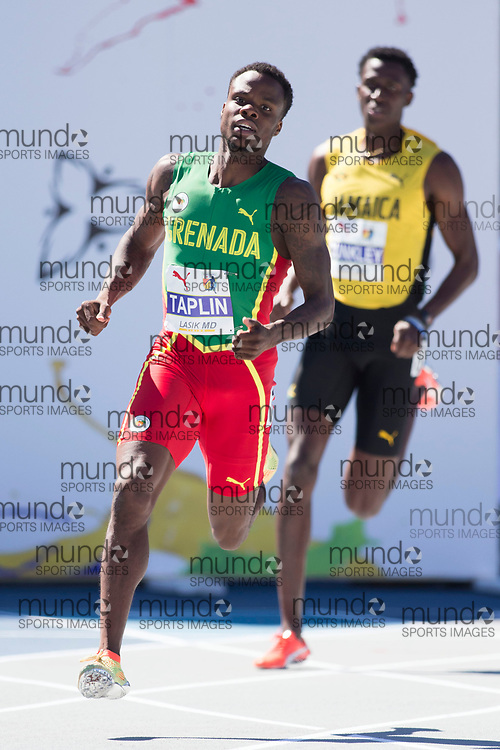 Toronto, ON -- 10 August 2018: Bralon Taplin (Grenada), 400m semi-finals at the 2018 North America, Central America, and Caribbean Athletics Association (NACAC) Track and Field Championships held at Varsity Stadium, Toronto, Canada. (Photo by Sean Burges / Mundo Sport Images).