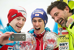 Michael Hayboeck (AUT), Stefan Kraft (AUT), winner in Overall Ski Jumping World Cup classification and his manager Mag. Patrick Murnig making selfie after the Ski Flying Hill Men's Individual Competition at Day 4 of FIS Ski Jumping World Cup Final 2017, on March 26, 2017 in Planica, Slovenia. Photo by Vid Ponikvar / Sportida