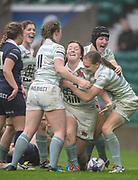 Twickenham, Surrey. UK.  Try scorer, Jess GURNET [C] celebrate her try with team mates, during the 2017 Women's Varsity Rugby Match, Oxford vs Cambridge Universities. RFU Stadium, Twickenham. Surrey, England.<br /> <br /> Thursday  07.12.17  <br /> <br /> [Mandatory Credit Peter SPURRIER/Intersport Images]