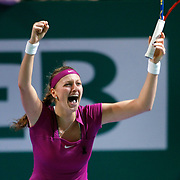 Petra Kvitova of Czech Republic reacts after her victory against Victoria Azarenka of Belarus during their final match at the WTA Championships tennis tournament in Istanbul, Turkey on 30 October 2011. Photo by TURKPIX