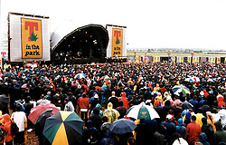Rain at the main stage at T in the Park, at Balado, Fife. Date unknown, circa 1998...