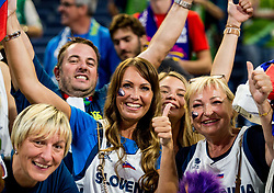 Mirjam Poterbin, mother of Luka Doncic of Slovenia, his girlfriend Anamarija Goltes and his grandmother celebrate after Slovenia won during basketball match between National Teams of Slovenia and Spain at Day 15 in Semifinal of the FIBA EuroBasket 2017 at Sinan Erdem Dome in Istanbul, Turkey on September 14, 2017. Photo by Vid Ponikvar / Sportida