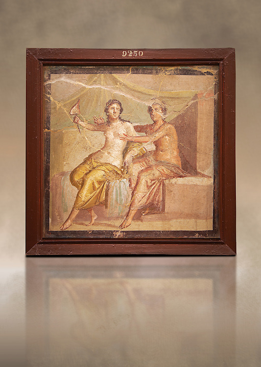 1 cent AD Roman Erotic  fresco depicting Mars and Venus  Pompeii (VI, 9, 2,) Casa die Meleagro, inv 9250, 1st century AD, Naples Archaological Museum , Italy .<br /> <br /> If you prefer to buy from our ALAMY PHOTO LIBRARY  Collection visit : https://www.alamy.com/portfolio/paul-williams-funkystock - Scroll down and type - Roman Art Erotic  - into LOWER search box. {TIP - Refine search by adding a background colour as well}.<br /> <br /> Visit our ROMAN ART & HISTORIC SITES PHOTO COLLECTIONS for more photos to download or buy as wall art prints https://funkystock.photoshelter.com/gallery-collection/The-Romans-Art-Artefacts-Antiquities-Historic-Sites-Pictures-Images/C0000r2uLJJo9_s0