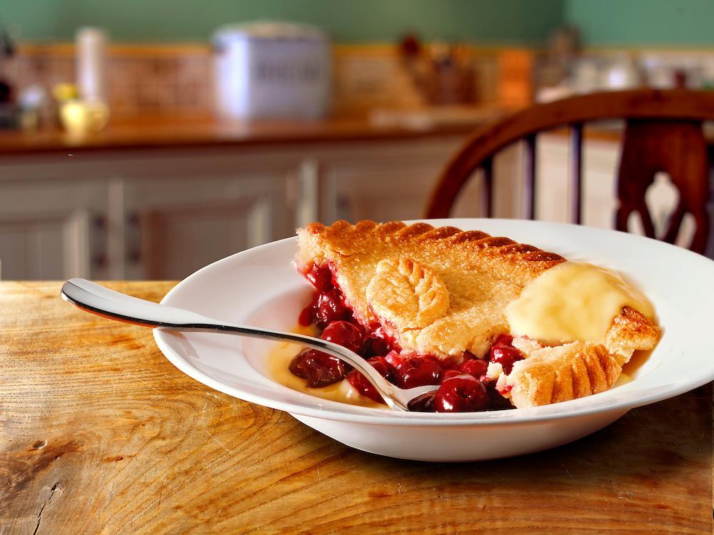 British Food - Cherry pie & Custard