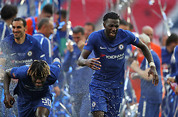 Chelsea's Trevoh Chalobah (left) and Tiemoue Bakayoko celebrate after the game