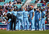 Cricket - 2019 ICC Cricket World Cup warm-ups - England vs. Afghanistan <br /> <br /> England's Ben Stokes celebrates taking the wicket of Afghanistan's Noor Ali Zadran, bowled for 30, at The Oval.<br /> <br /> COLORSPORT/ASHLEY WESTERN