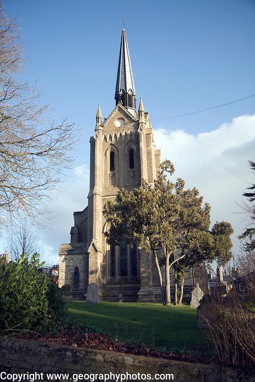 Saint John Church with spire, Woodbridge, Suffolk, England