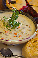 Rosemary chicken with mushroom soup, huckleberry pie at Loulas Restaurant in Whitefish, Montana, USA