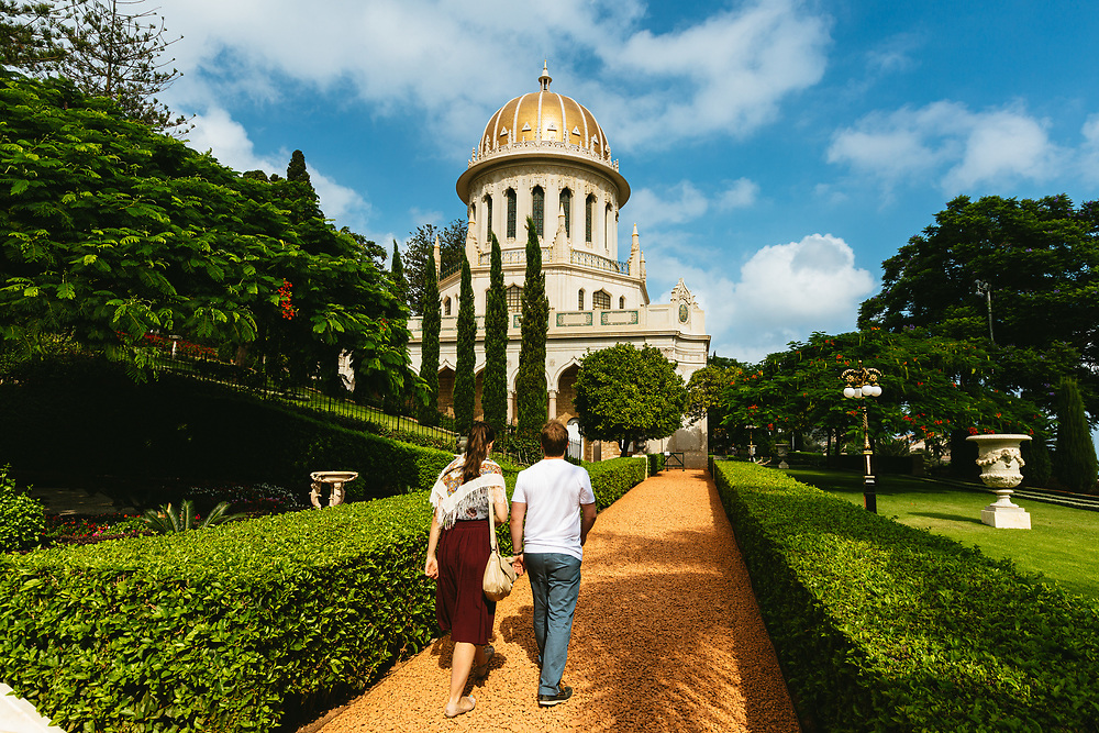 Tourists visit the Baha'i Shrine of the Bab and the surrounding Baha'i Gardens, a United Nations-designated World Heritage site on Mount Carmel in Haifa, northern Israel.