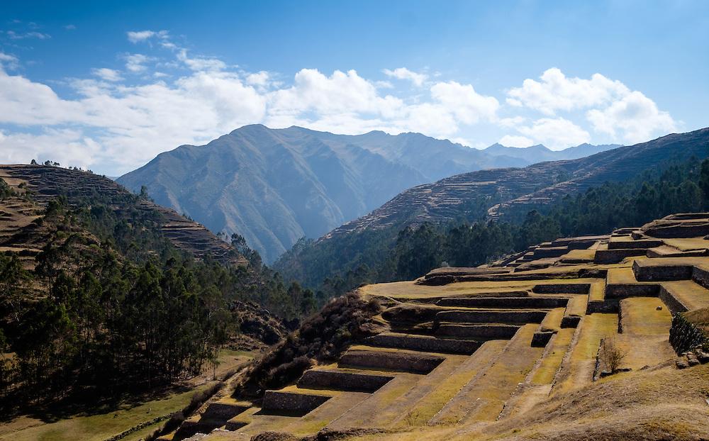 CHINCHERO, PERU - CIRCA OCTOBER 2015:  Inca Terraces in Chinchero on the Cusco region known as Sacred Valley