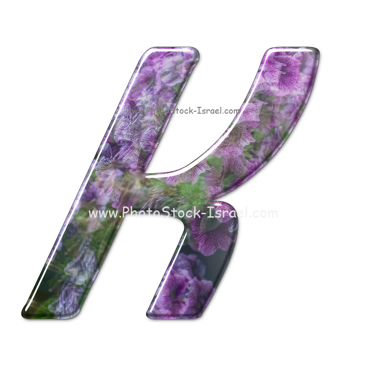 The Capitol Letter K Part of a set of letters, Numbers and symbols of 3D Alphabet made with a floral image on white background