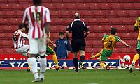 Photo: Paul Thomas.<br /> Stoke City v Norwich City. Coca Cola Championship. 28/10/2006.<br /> <br /> Lee Hendrie of Stoke (L) scores.