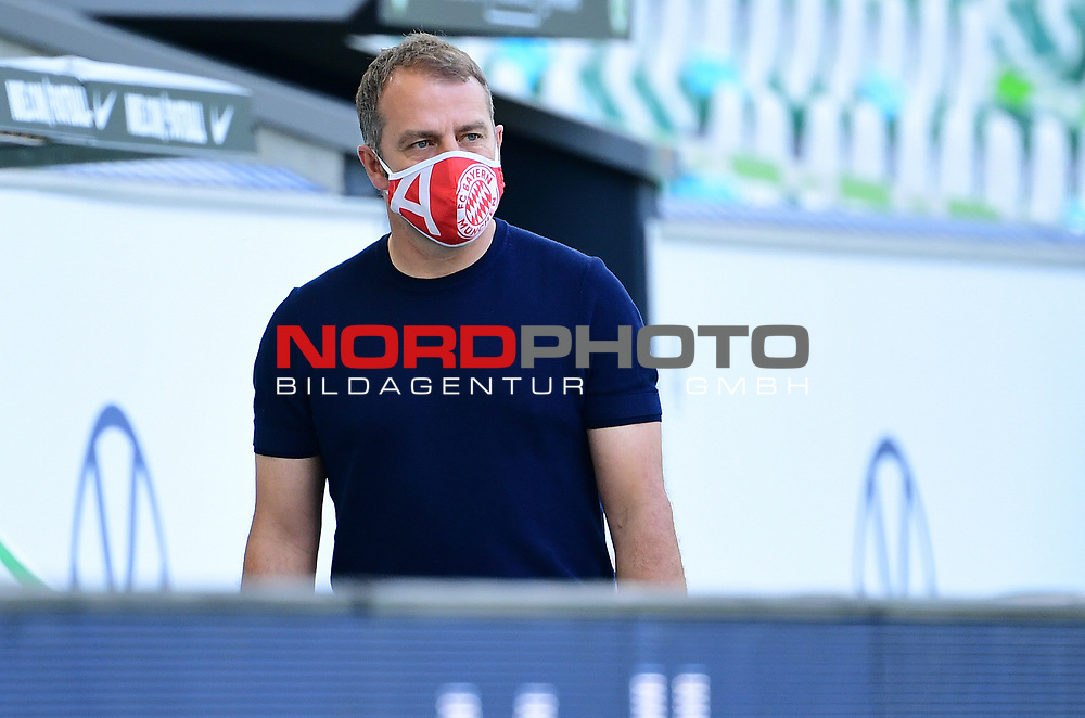 """Trainer Hans-Dieter """"Hansi"""" Flick (Bayern)<br /> Wolfsburg, 27.06.2020: nph00001: , Fussball Bundesliga, VfL Wolfsburg - FC Bayern Muenchen<br /> Foto: Tim Groothuis/Witters/Pool//via nordphoto<br />  DFL REGULATIONS PROHIBIT ANY USE OF PHOTOGRAPHS AS IMAGE SEQUENCES AND OR QUASI VIDEO<br /> EDITORIAL USE ONLY<br /> NATIONAL AND INTERNATIONAL NEWS AGENCIES OUT"""