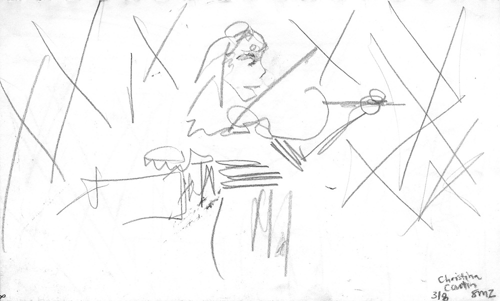 "Violin Player – 5.5""x8.5"", Graphite on paper, 2011"